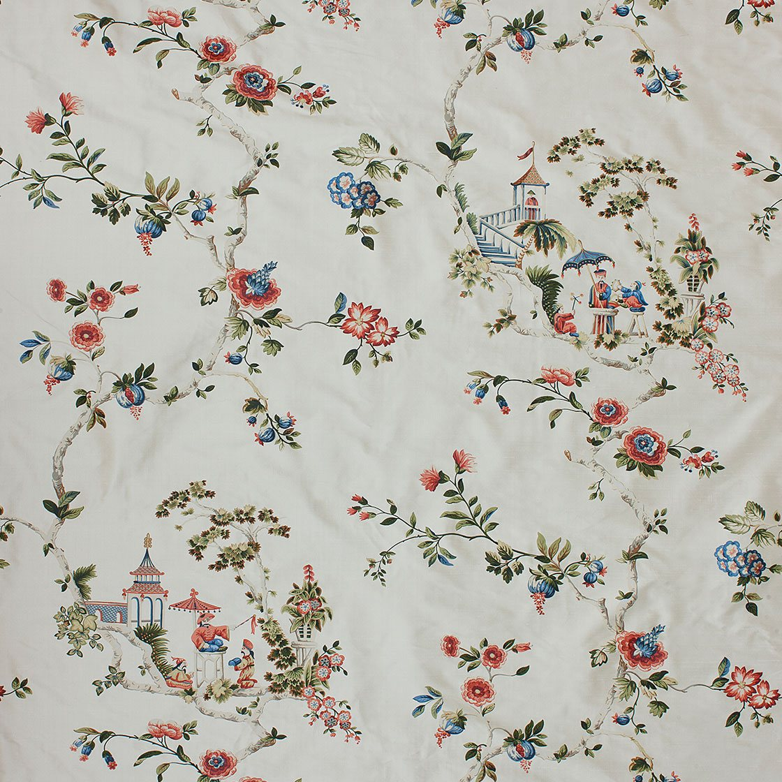 Cathay Printed Silk - Ivory Garden - Beaumont & Fletcher - Beaumont & Fletcher