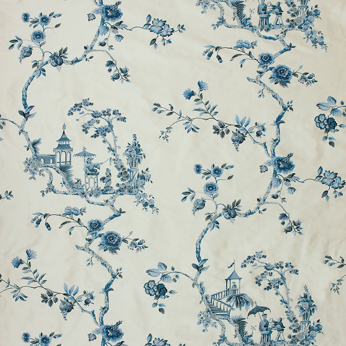 Cathay Printed Silk - Ming Blue - Beaumont & Fletcher - Beaumont & Fletcher