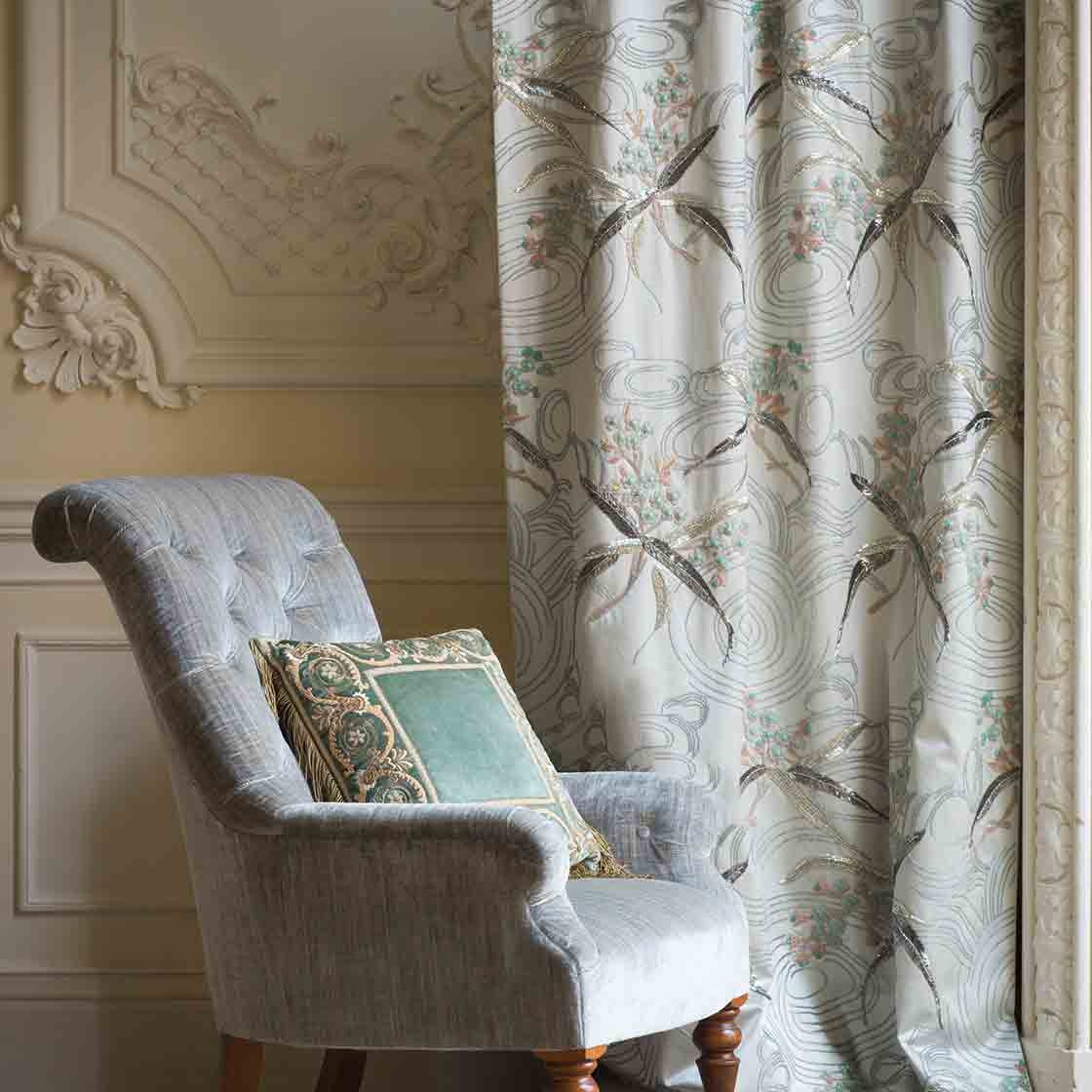 Sevilla - On Plain Silk Light Sage - Beaumont & Fletcher - Beaumont & Fletcher